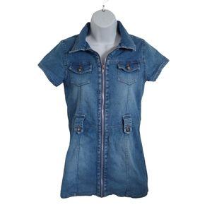 Nevada Blue Denim Jean Dress, Full Front Zipper 12